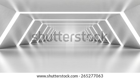 Abstract illuminated empty white corridor interior made of shining metal, 3d illustration - stock photo