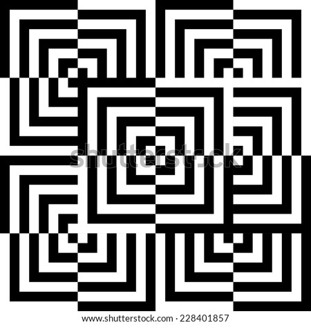 abstract illusion of black and white corners - stock photo