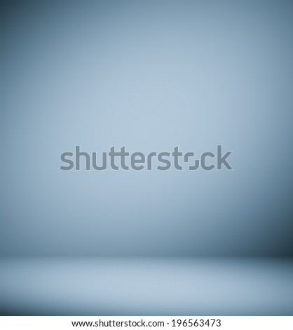 Abstract illustration background texture of light gray and blue gradient wall, flat floor, sides from metal in empty spacious room interior - stock photo