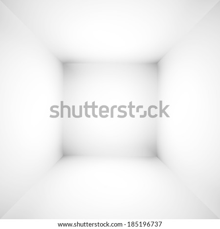 Abstract illustration background texture of light gray gradient wall, flat floor, white ceiling and sides from metal in empty spacious room interior - stock photo