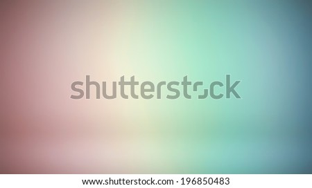 Abstract illustration background texture of light red, orange, yellow, green and blue bright color gradient wall, flat floor, sides from metal in empty spacious room interior - stock photo
