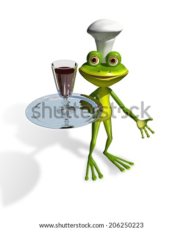 abstract illustration frog with a glass of wine on a tray - stock photo