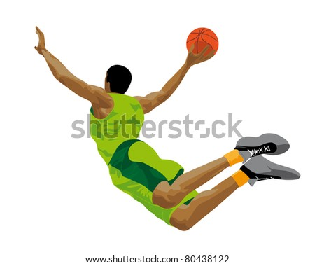 abstract illustration of a basketball player - stock photo