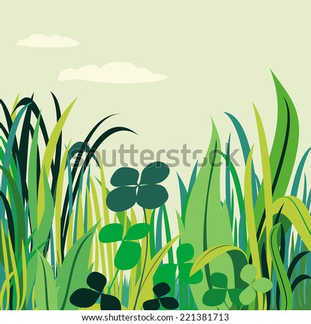 Abstract illustration of a meadow with four-leaf clover - stock photo