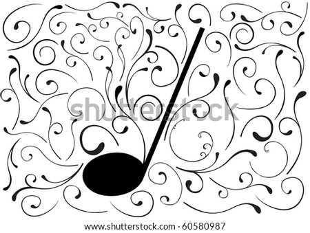 Abstract illustration of a music note - stock photo