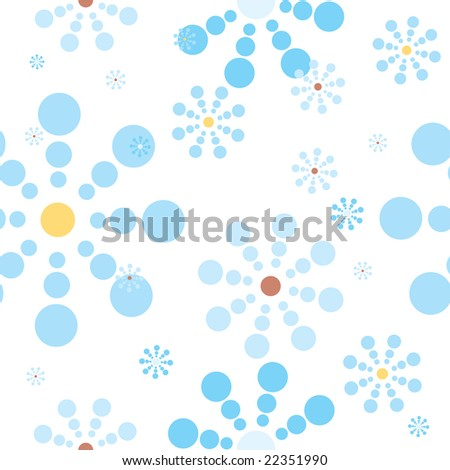 Abstract illustration of a seamless snow flake repeat design in blue - stock photo