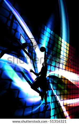 Abstract illustration of a silhouette of a man slam dunking a basketball over a background of rainbow colored artwork. - stock photo