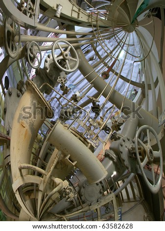 abstract illustration of a tangle of pipes, ladders, walkways - stock photo