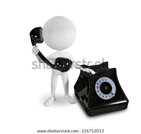 abstract illustration of a white man with phone - stock photo