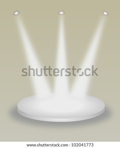 Abstract illustration of bright stage with spot lights and shadows. - stock photo