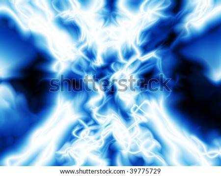 Abstract illustration of colliding electric fields - stock photo