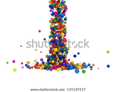 Abstract Illustration of Colorful Balls Falling on white background. (Animation for this image see in my footage gallery) - stock photo