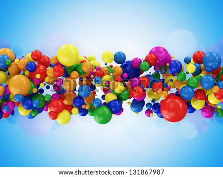 Abstract Illustration of Colorful Balls on blue background - stock photo