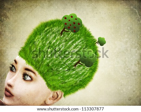 Abstract illustration of 3d woman with light bulb on head background. - stock photo