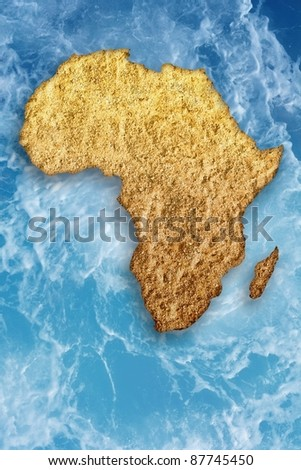 Abstract illustration of drought in Africa. Global warming, climate change, stop global warming, Somalia drought, drought monitor, water drought, food shortage - stock photo