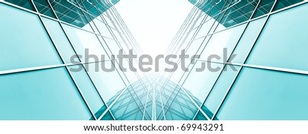 abstract illustration of glass frame building skyscrapers - stock photo