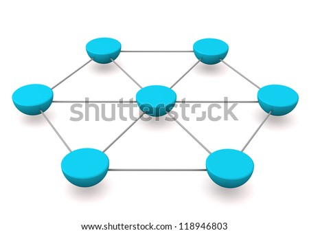 Abstract illustration of networks with blue hemispheres. White background. - stock photo