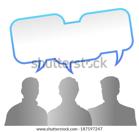 abstract illustration of people communicating with speech bubbles - stock photo