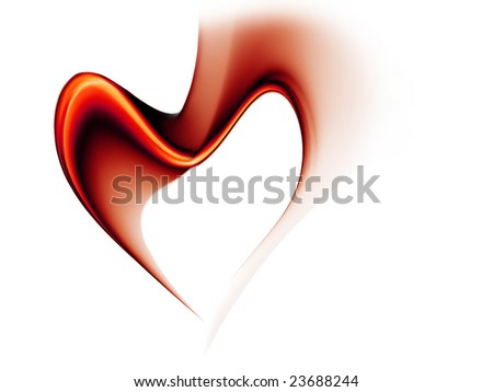 Abstract illustration of red wavy flowing energy forming a heart - stock photo