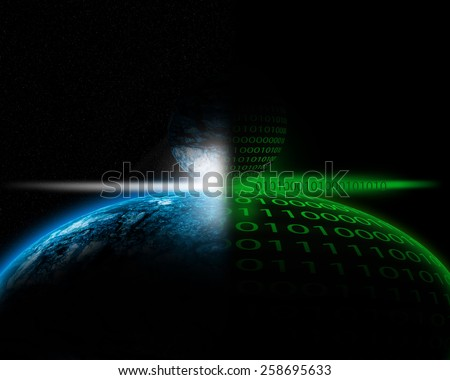 Abstract illustration of two planets in binary code. - stock photo
