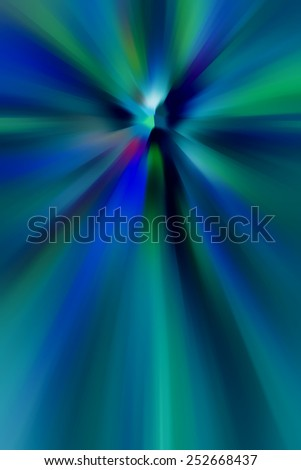 Abstract illustration with zoom blur of radial streaks of various colors, for themes of origin, expansion, and the unknown - stock photo