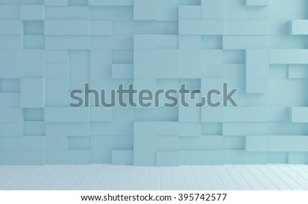 Abstract image box random levels wall pastel color background. - stock photo