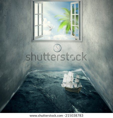 Abstract image idea inside someones mind surrounded by limitations daily routine cement walls, no escape chance for bright future only dreams of tropical paradise. Boat drifts in ocean without course  - stock photo