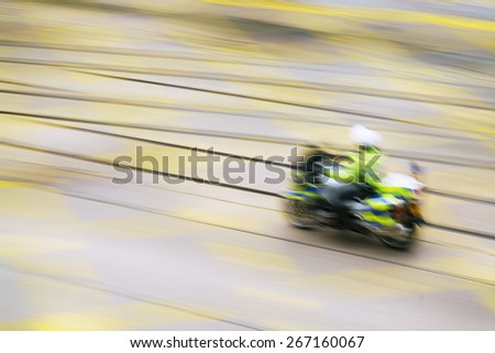 Abstract image of a Motorcycle Police. - stock photo