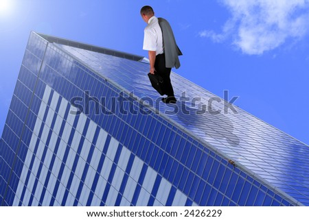 Abstract image of a tired businessman walking on a corporate building.It can suggest somenthing like building a business or a carrier. - stock photo