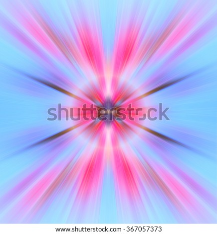 Abstract image of blue and pink color. Spring. Light red, pink, blue color wallpaper. Horizon lights. Flash - rays of light. Radiance of light. Beautiful rays of light. Aura, meditation. - stock photo