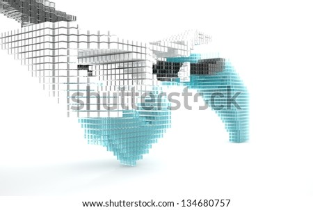Abstract image of blue, black and white glass cubes. - stock photo