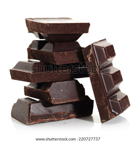Abstract image of dark chocolate on white background - stock photo