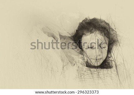 abstract image of Double exposure of tree brunches in the autumn and cute happy kid dreaming. black and white style photo  - stock photo