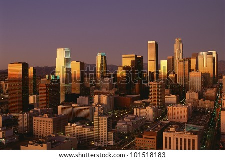 Abstract image of downtown Los Angeles at sunset, California - stock photo
