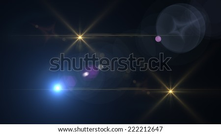 Abstract image of lighting flare with two stars - stock photo