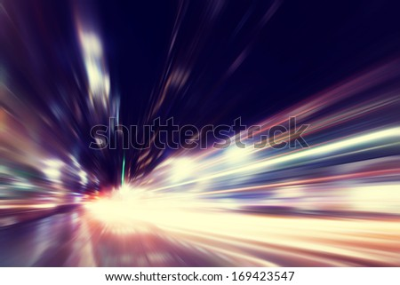 Abstract image of night traffic in the city. - stock photo