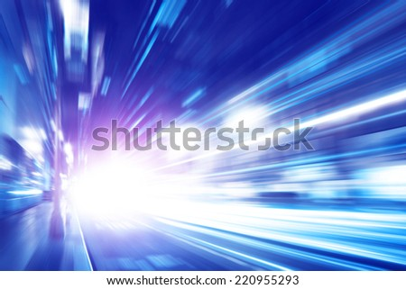 Abstract image of night traffic in the city. Motion blur. - stock photo