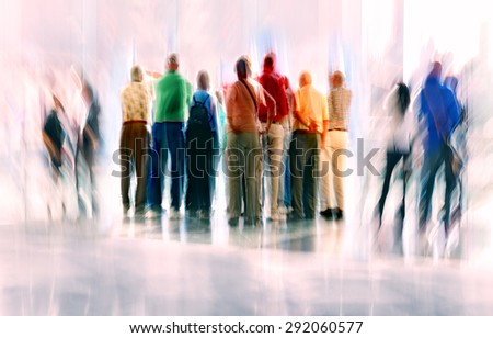 abstract image of people in the lobby of a modern business center with a blurred background and using a filter - stock photo