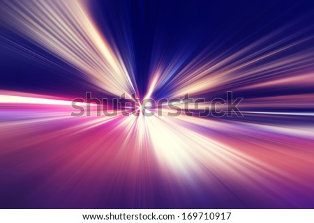Abstract image of speed motion on the road at twilight. - stock photo