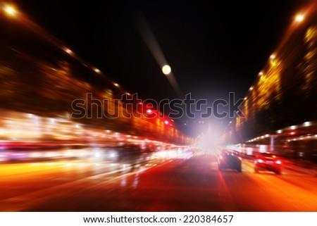 Abstract image of traffic lights in the city.  - stock photo