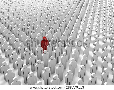 Abstract individuality, uniqueness and leadership business concept: single red 3D people figure in crowded group of white figures - stock photo