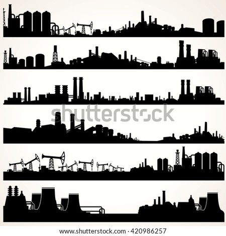 Abstract Industrial Skyline Set. Panoramic Silhouettes - stock photo