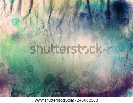 Abstract ink and acrylic painting on grunge paper background - mixed technique - stock photo