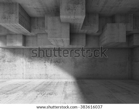Abstract interior design with cubic structure on the ceiling. Modern concrete architecture background, 3d illustration - stock photo