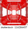 Abstract Interior Gallery with Future Red Empty Room Box Frame Display. - stock photo