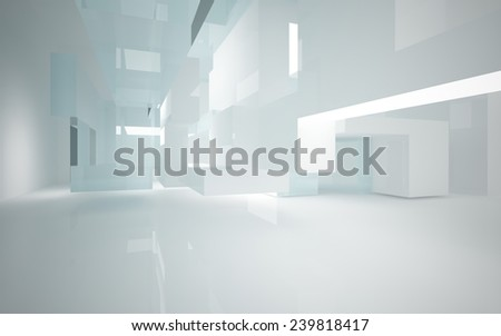 Abstract interior of glass blocks  - stock photo