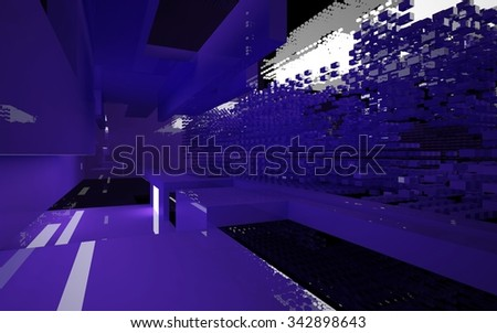 Abstract interior of the server of the future. 3D illustration. 3D rendering - stock photo