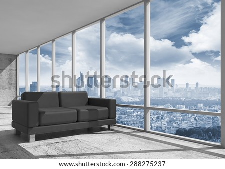 Abstract interior, office room with concrete floor, window and black leather sofa, 3d illustration with big city landscape on a background - stock photo
