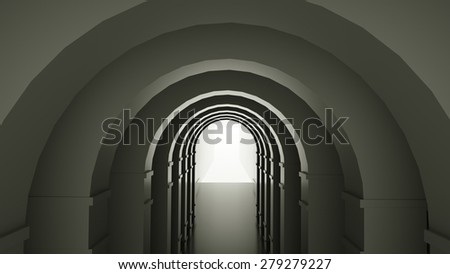 Abstract interior with arches, 3 d render - stock photo