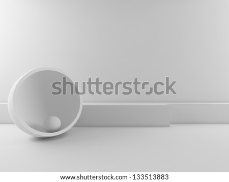 Abstract interior with geometric shape - stock photo